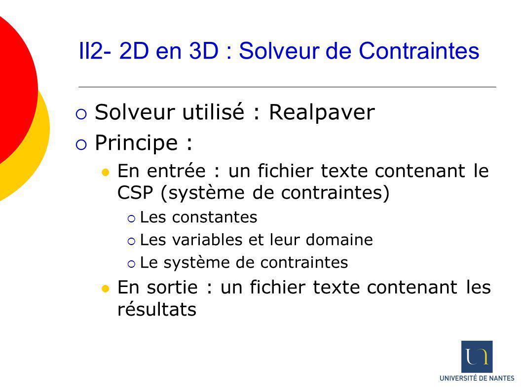 II2- 2D en 3D : Solveur de Contraintes