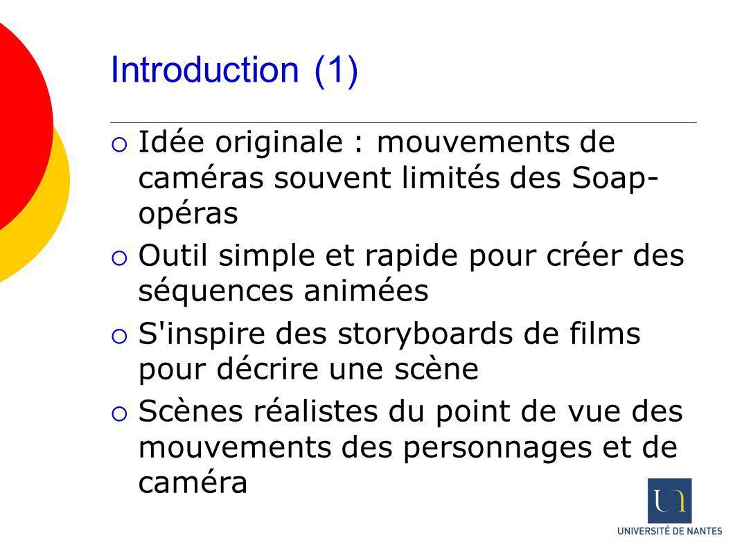 Introduction (1) Idée originale : mouvements de caméras souvent limités des Soap-opéras. Outil simple et rapide pour créer des séquences animées.
