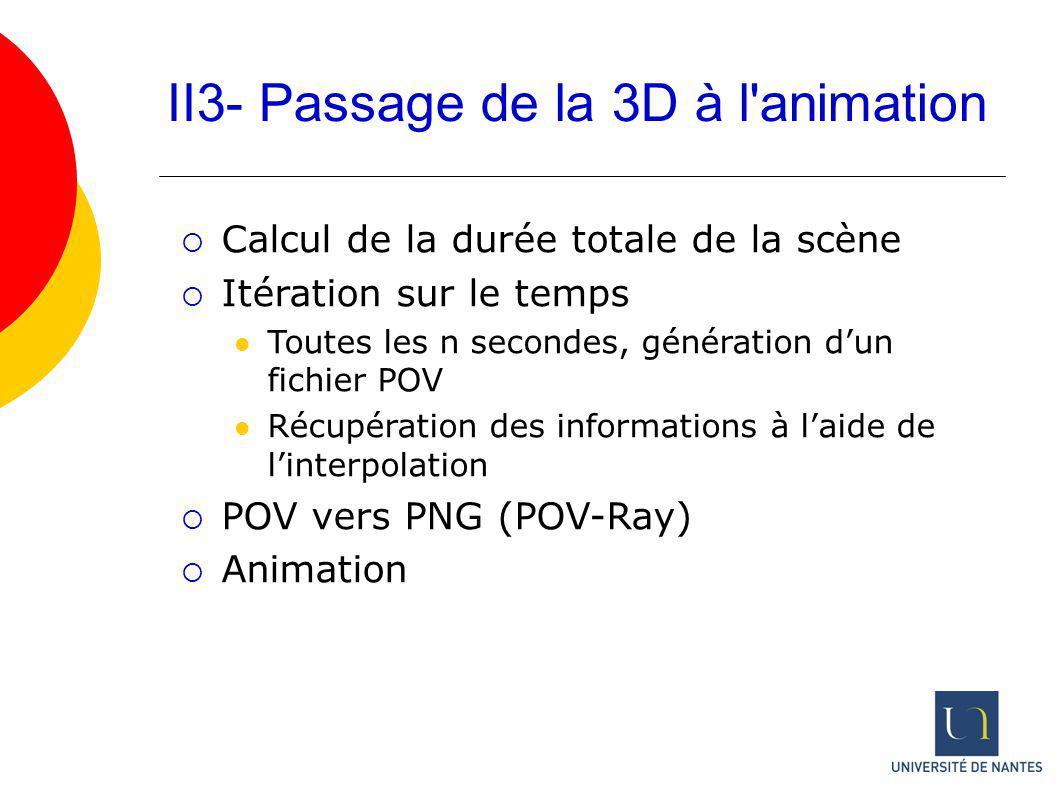 II3- Passage de la 3D à l animation