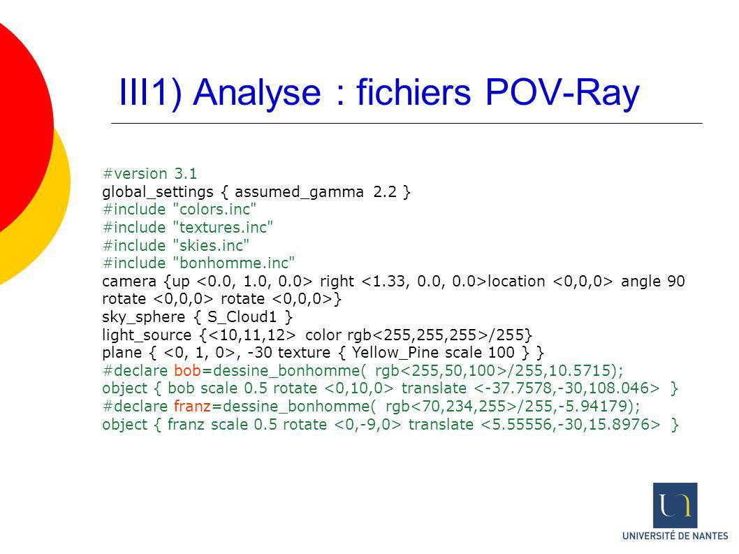 III1) Analyse : fichiers POV-Ray