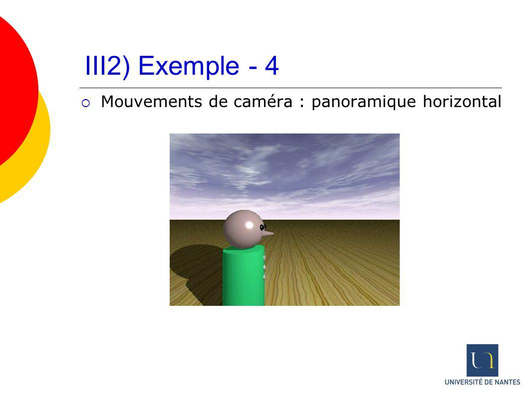 III2) Exemple - 4 Mouvements de caméra : panoramique horizontal