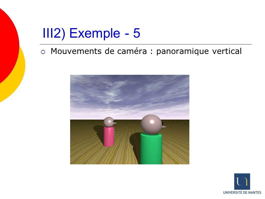 III2) Exemple - 5 Mouvements de caméra : panoramique vertical