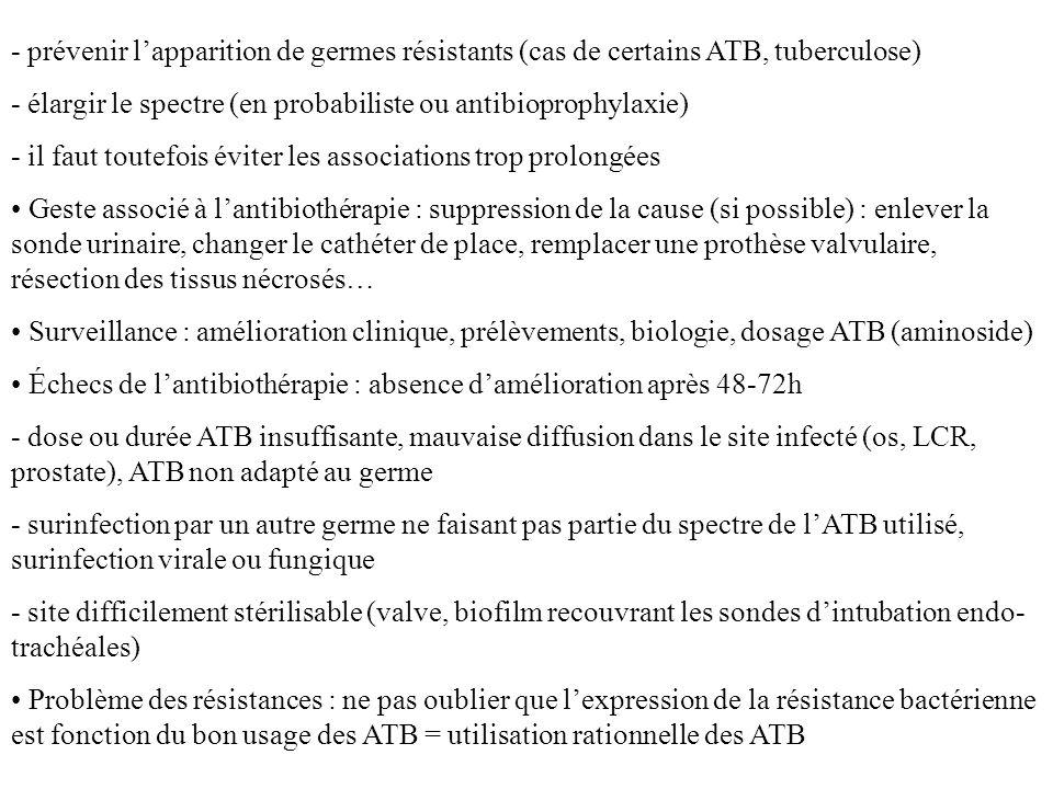 - prévenir l'apparition de germes résistants (cas de certains ATB, tuberculose)