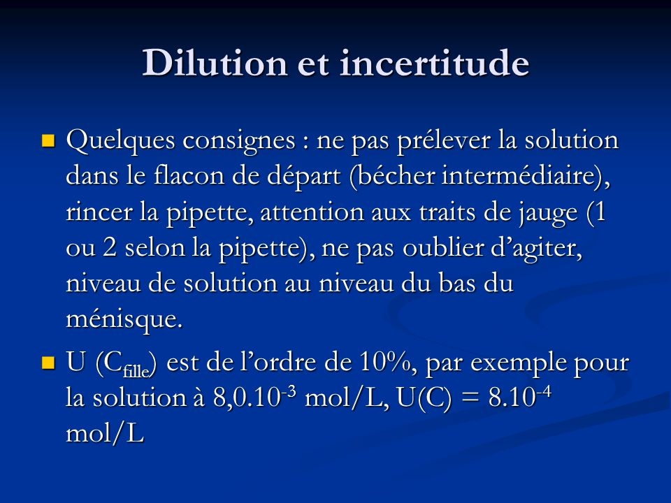Dilution et incertitude