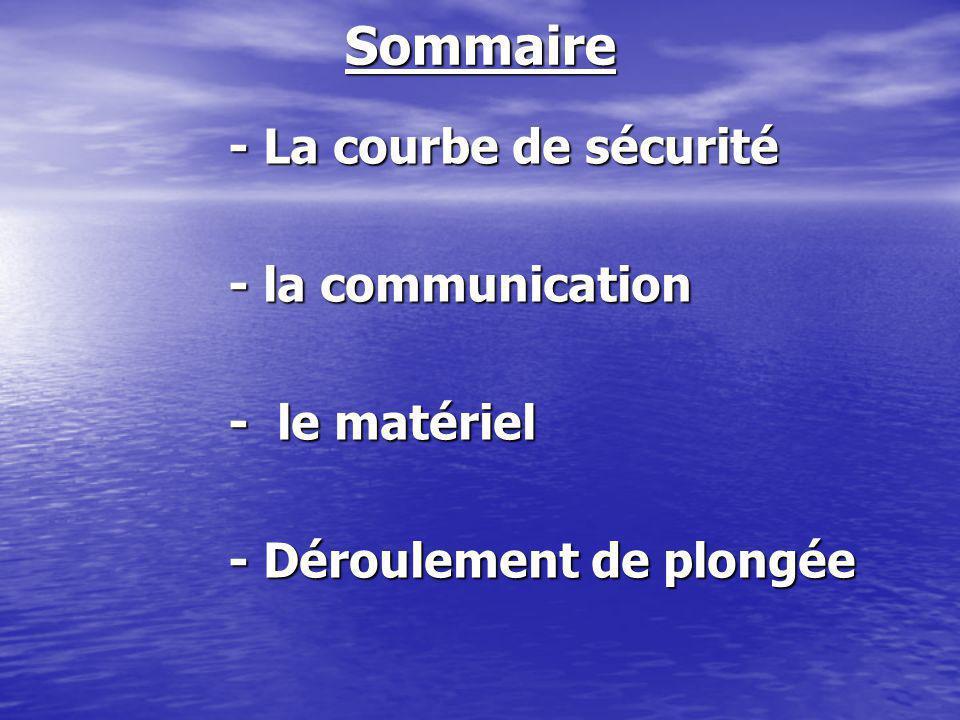 Sommaire - la communication - le matériel - Déroulement de plongée