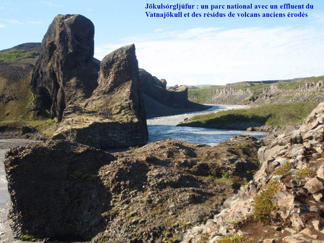 Jökulsórgljúfur : un parc national avec un effluent du Vatnajökull et des résidus de volcans anciens érodés