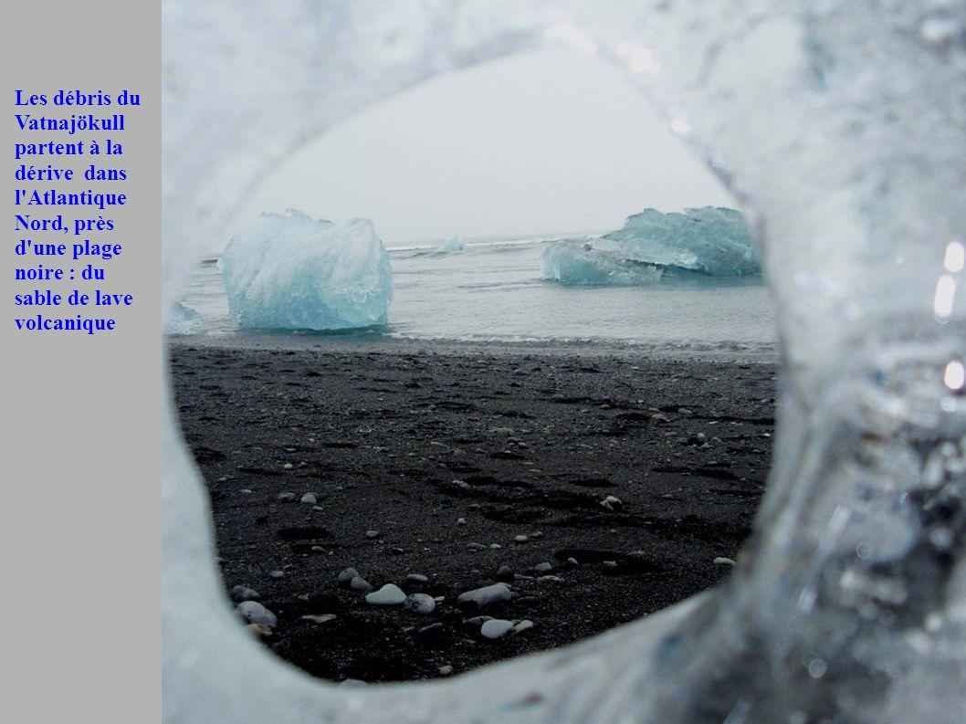 Les débris du Vatnajökull partent à la dérive dans l Atlantique Nord, près d une plage noire : du sable de lave volcanique