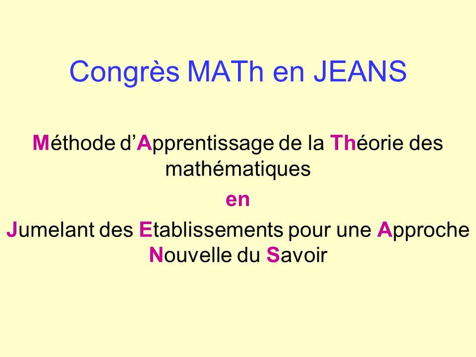 Congrès MATh en JEANS Méthode d'Apprentissage de la Théorie des mathématiques.