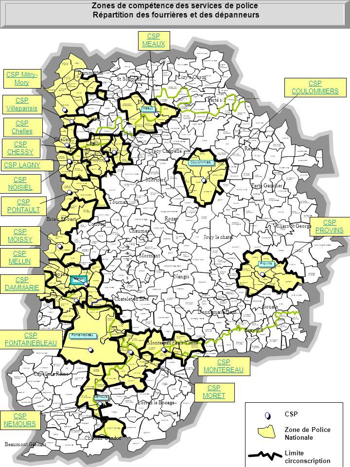 Zones de compétence des services de police Répartition des fourrières et des dépanneurs