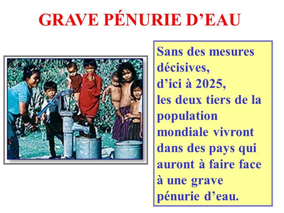 GRAVE PÉNURIE D'EAU