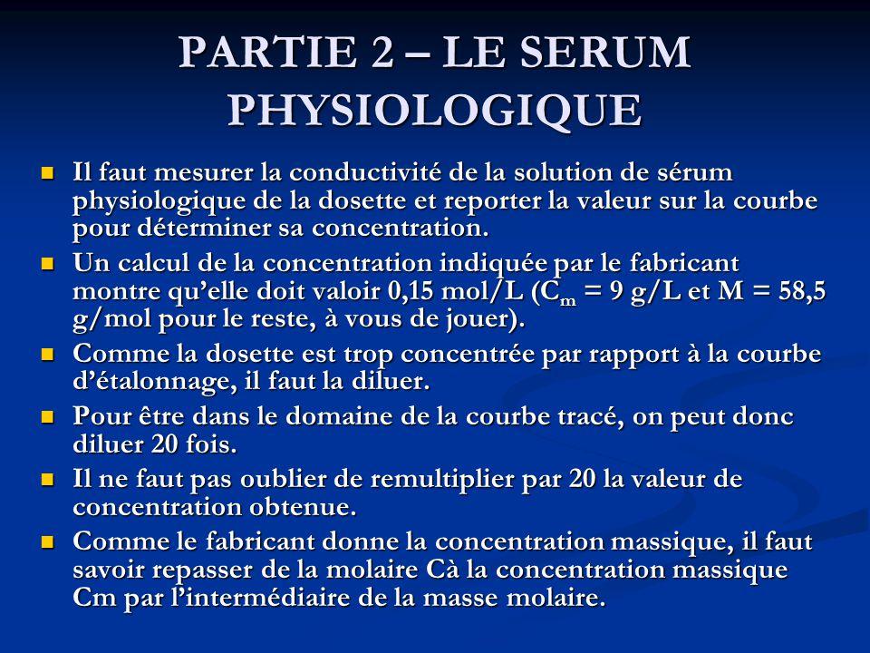 PARTIE 2 – LE SERUM PHYSIOLOGIQUE
