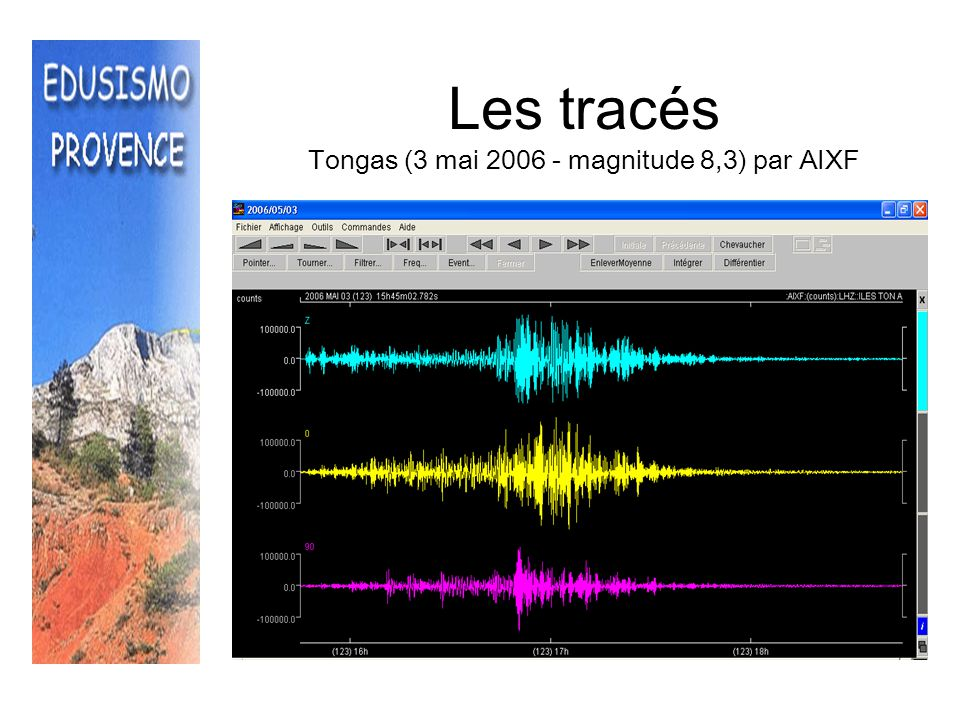 Les tracés Tongas (3 mai 2006 - magnitude 8,3) par AIXF