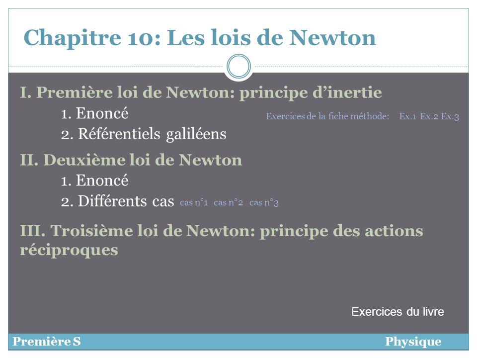 Chapitre 10: Les lois de Newton