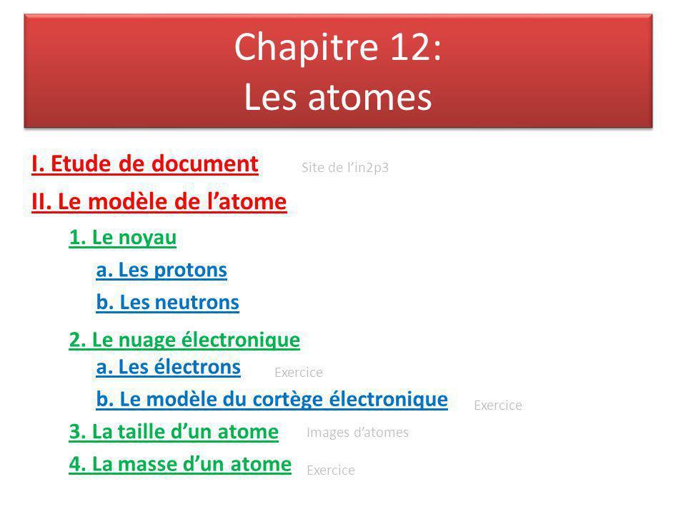 Chapitre 12: Les atomes I. Etude de document II. Le modèle de l'atome