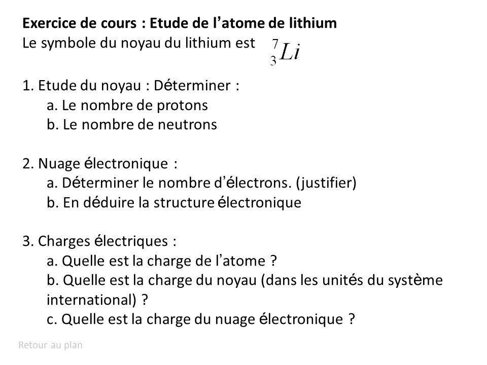 Exercice de cours : Etude de l'atome de lithium