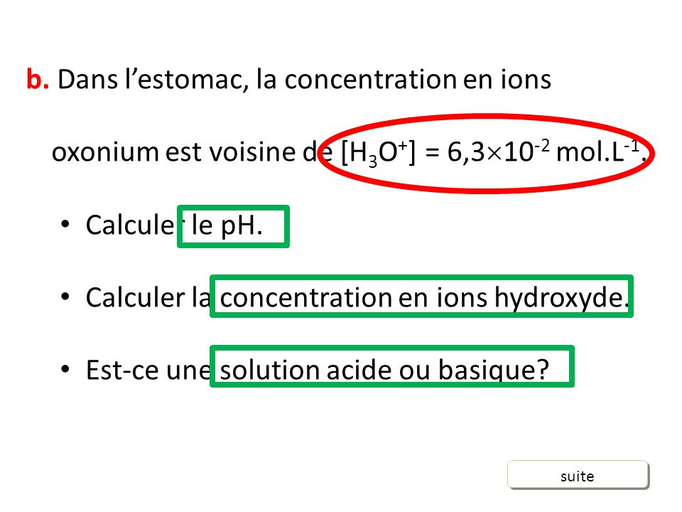 Calculer la concentration en ions hydroxyde.