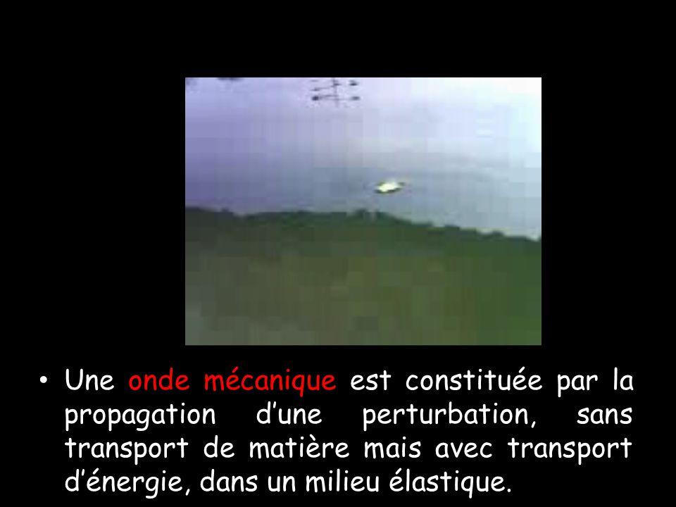 Une onde mécanique est constituée par la propagation d'une perturbation, sans transport de matière mais avec transport d'énergie, dans un milieu élastique.