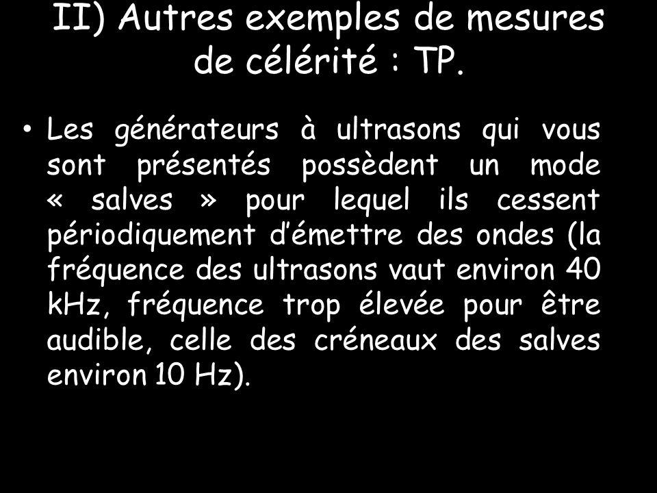 II) Autres exemples de mesures de célérité : TP.