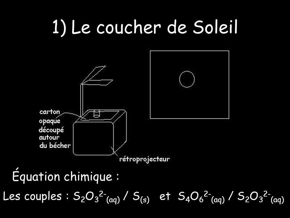 1) Le coucher de Soleil Équation chimique :