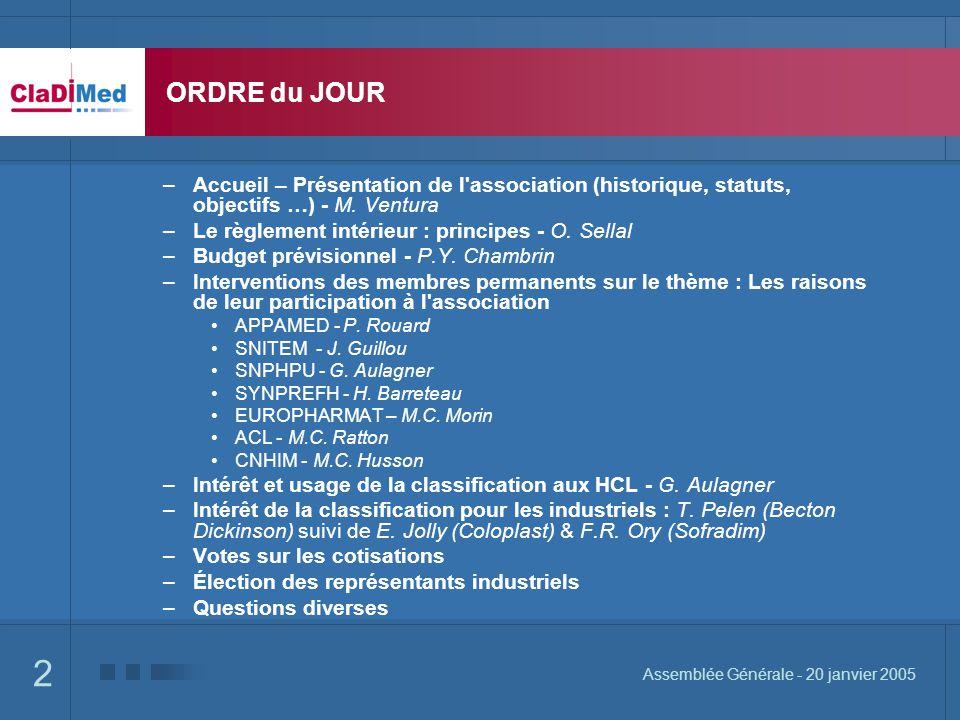 ORDRE du JOUR Accueil – Présentation de l association (historique, statuts, objectifs …) - M. Ventura.