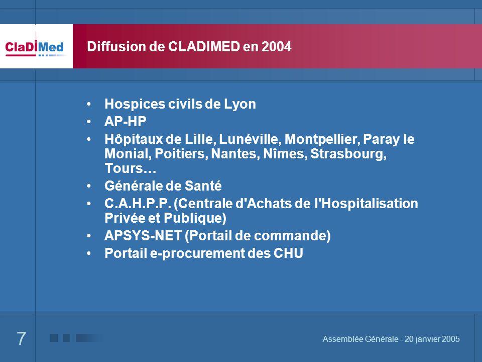 Diffusion de CLADIMED en 2004