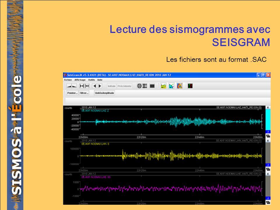 Lecture des sismogrammes avec SEISGRAM