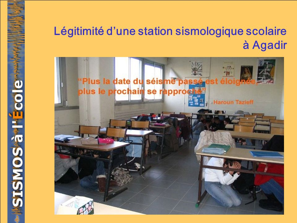Légitimité d'une station sismologique scolaire à Agadir
