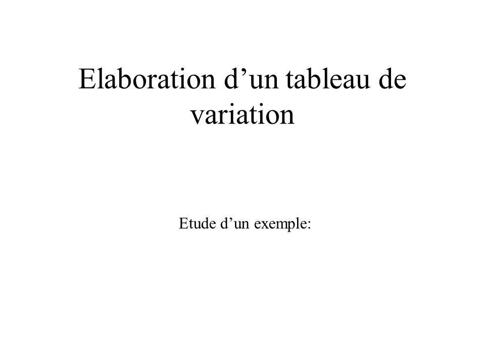 Elaboration d'un tableau de variation
