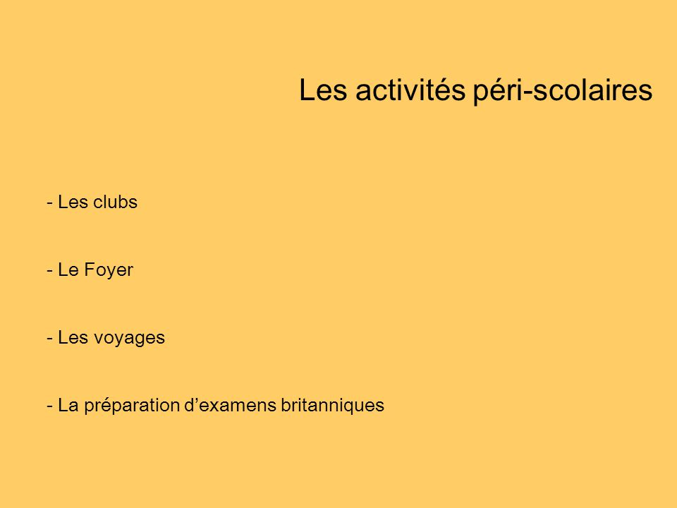Les activités péri-scolaires