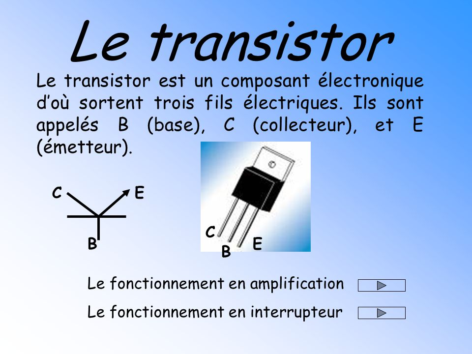 Le transistor le transistor est un composant lectronique for Transistor fonctionnement