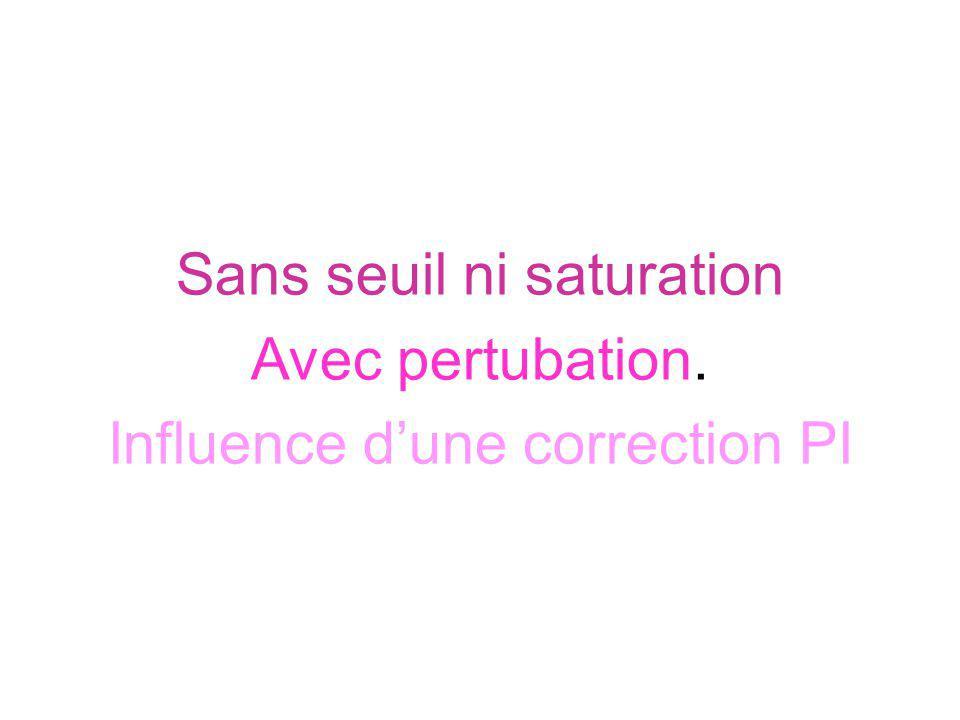 Sans seuil ni saturation Avec pertubation.