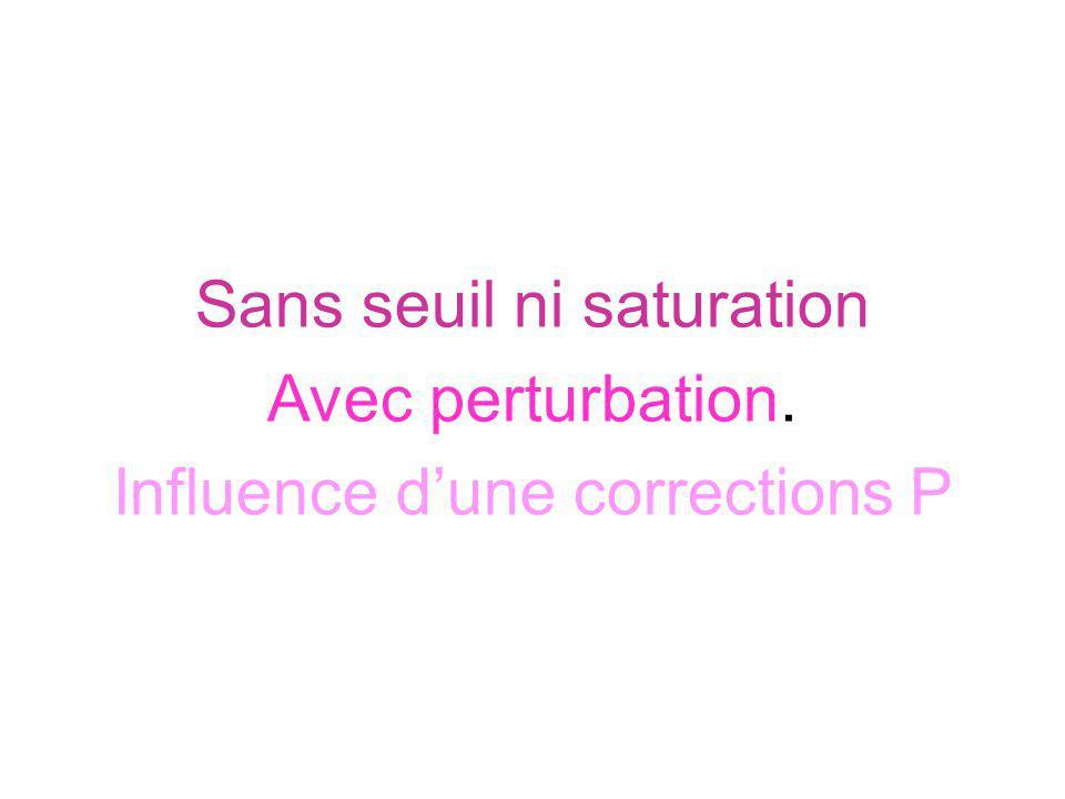 Sans seuil ni saturation Avec perturbation.