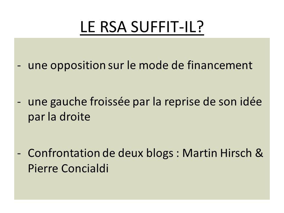 LE RSA SUFFIT-IL une opposition sur le mode de financement