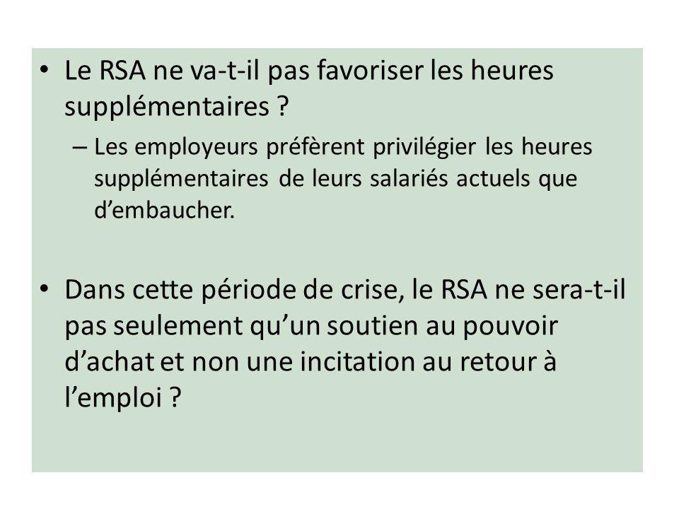 Le RSA ne va-t-il pas favoriser les heures supplémentaires