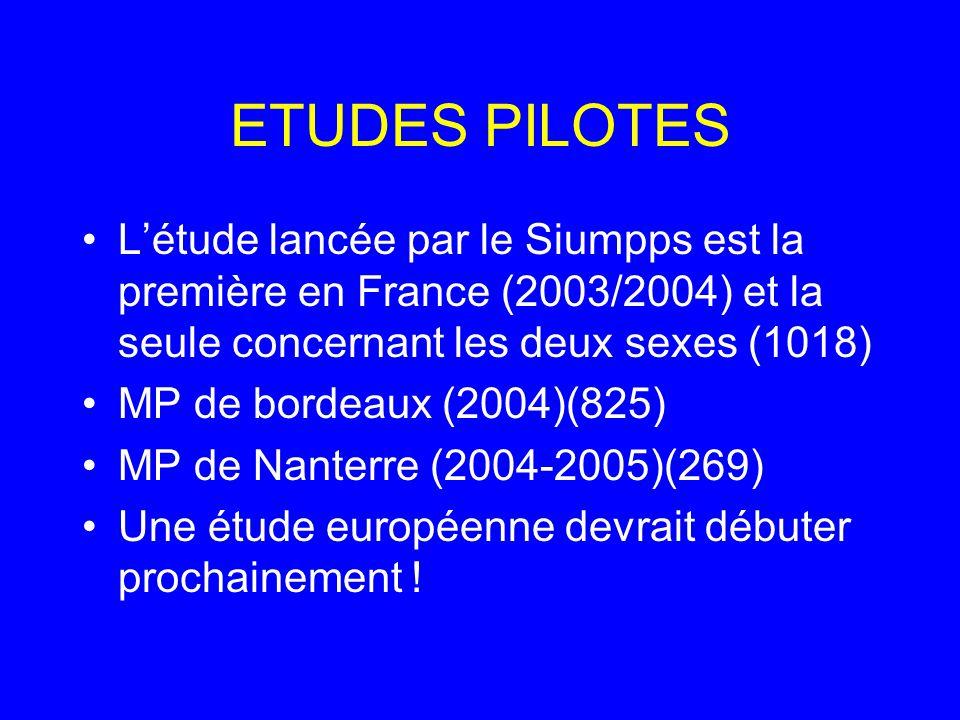 ETUDES PILOTES L'étude lancée par le Siumpps est la première en France (2003/2004) et la seule concernant les deux sexes (1018)