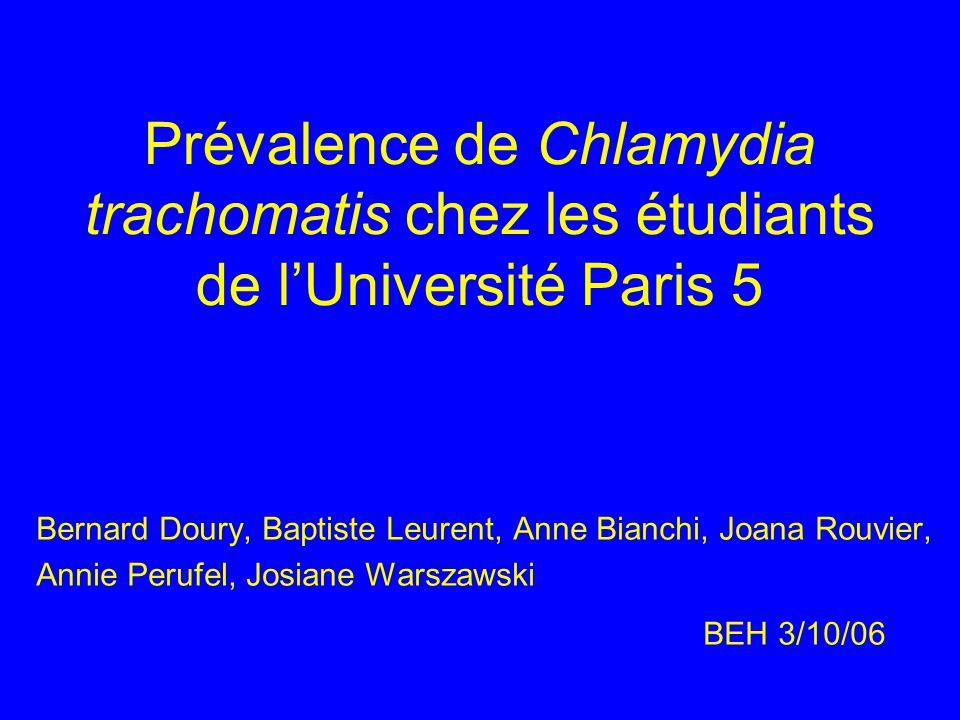 Prévalence de Chlamydia trachomatis chez les étudiants de l'Université Paris 5