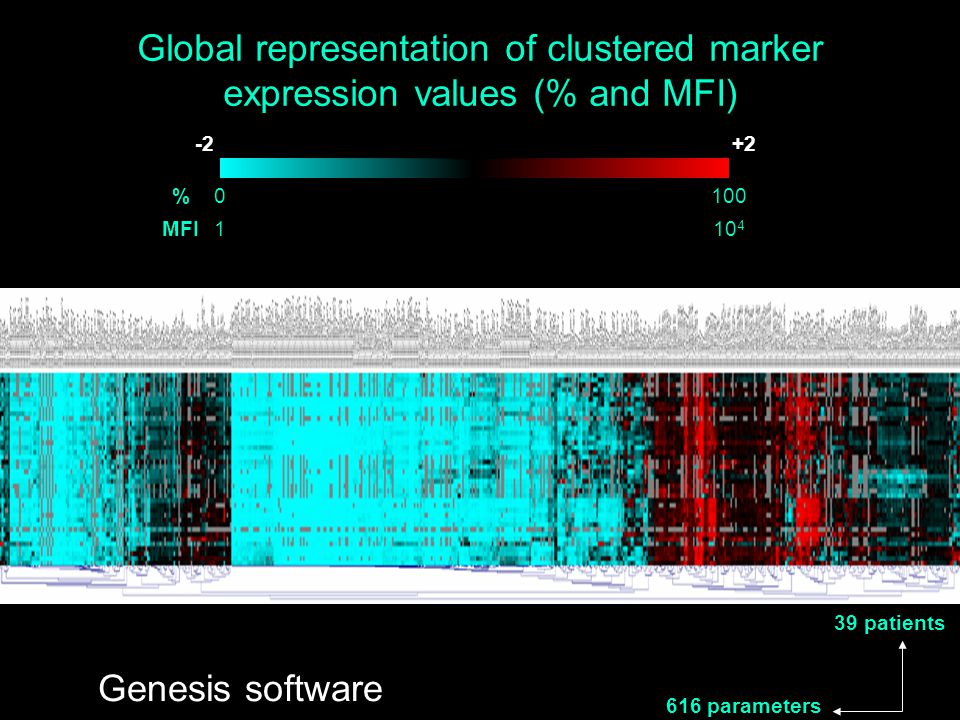 Global representation of clustered marker expression values (% and MFI)