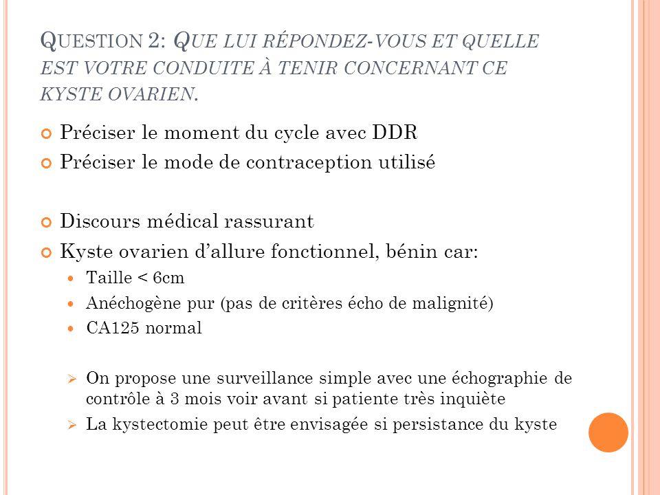 Question 2: Que lui répondez-vous et quelle est votre conduite à tenir concernant ce kyste ovarien.