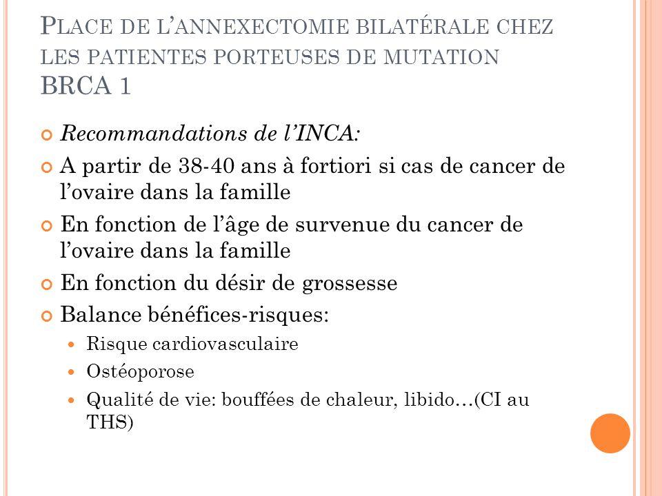 Place de l'annexectomie bilatérale chez les patientes porteuses de mutation BRCA 1