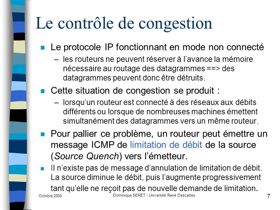 Le contrôle de congestion