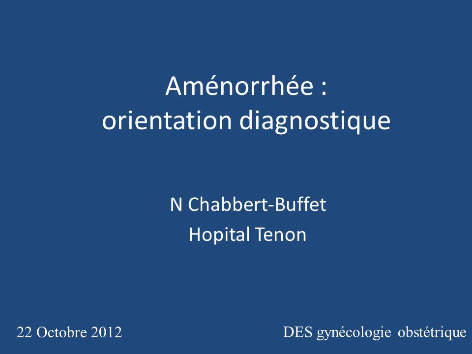 Aménorrhée : orientation diagnostique