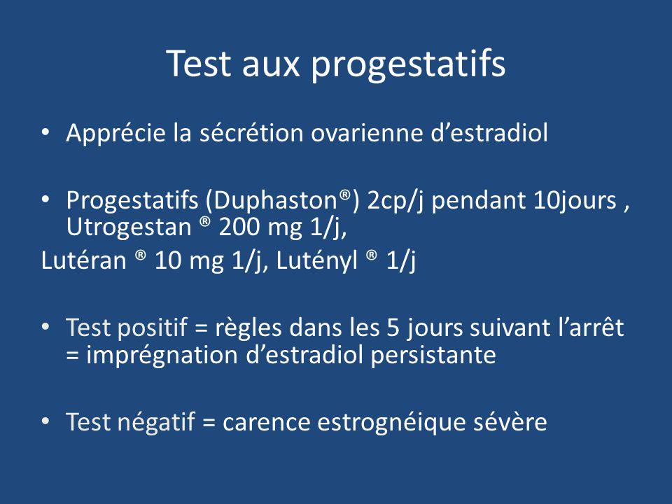 Test aux progestatifs Apprécie la sécrétion ovarienne d'estradiol