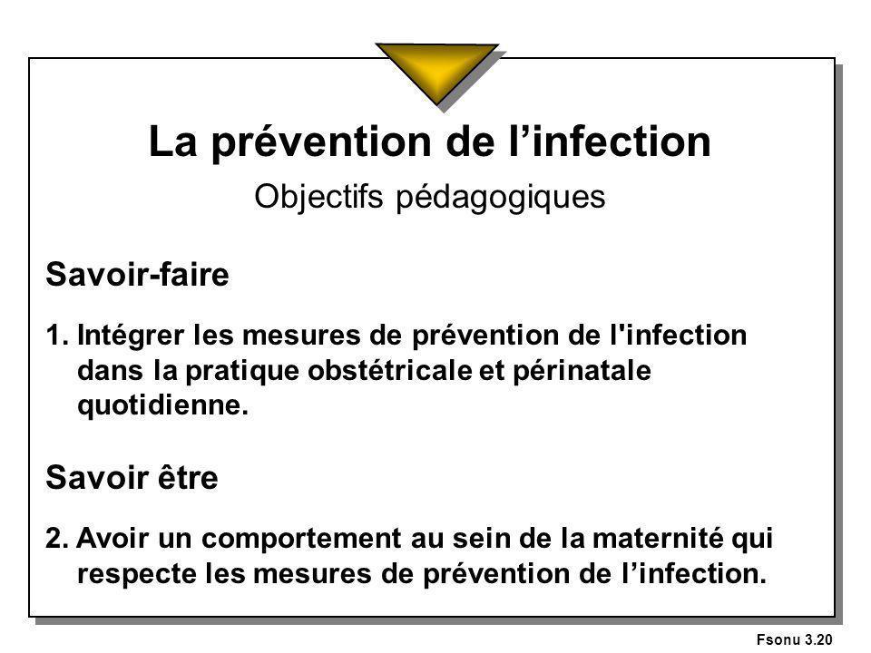 La prévention de l'infection Objectifs pédagogiques