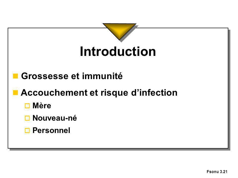 Introduction Grossesse et immunité Accouchement et risque d'infection