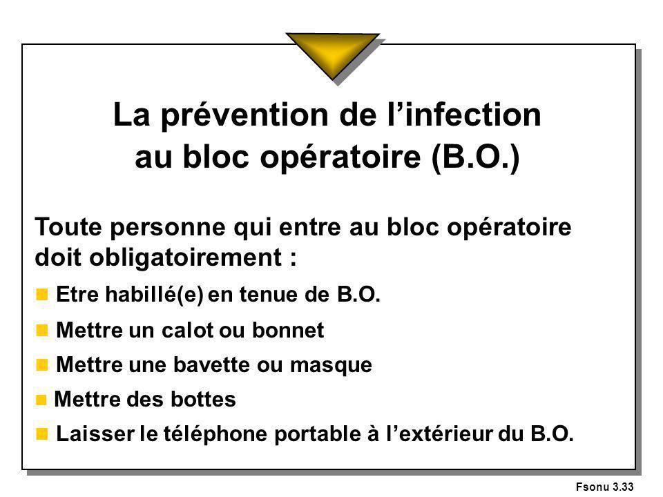 La prévention de l'infection au bloc opératoire (B.O.)