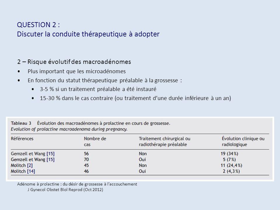 QUESTION 2 : Discuter la conduite thérapeutique à adopter