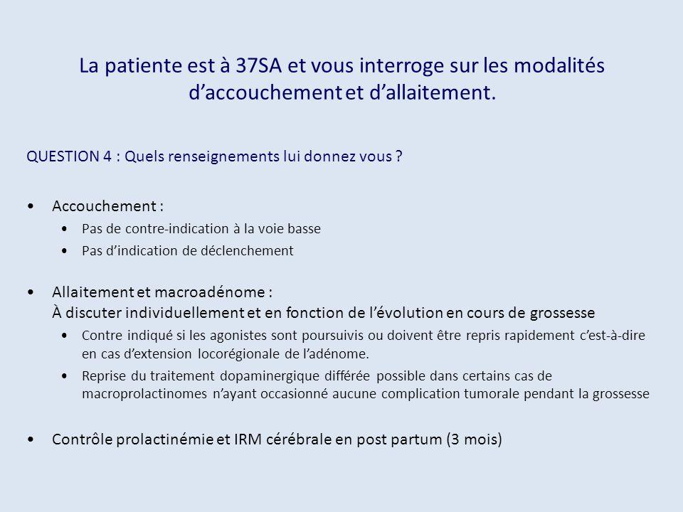 La patiente est à 37SA et vous interroge sur les modalités d'accouchement et d'allaitement.