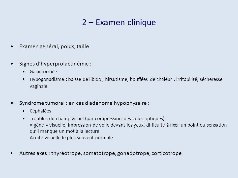 2 – Examen clinique Examen général, poids, taille