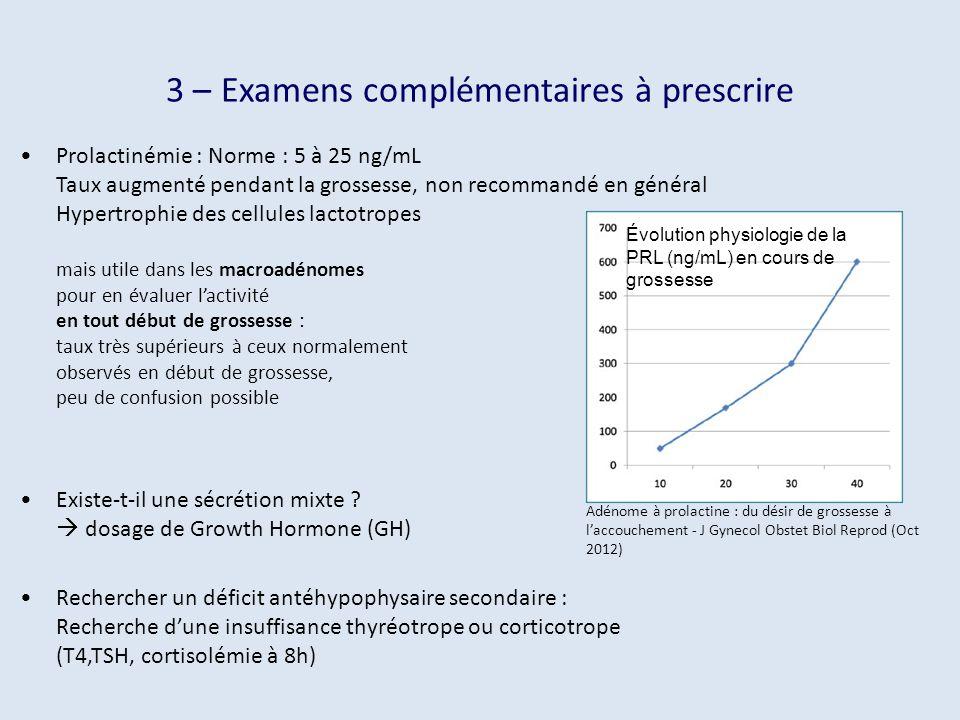 3 – Examens complémentaires à prescrire