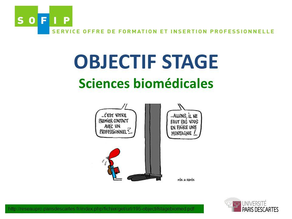 OBJECTIF STAGE Sciences biomédicales